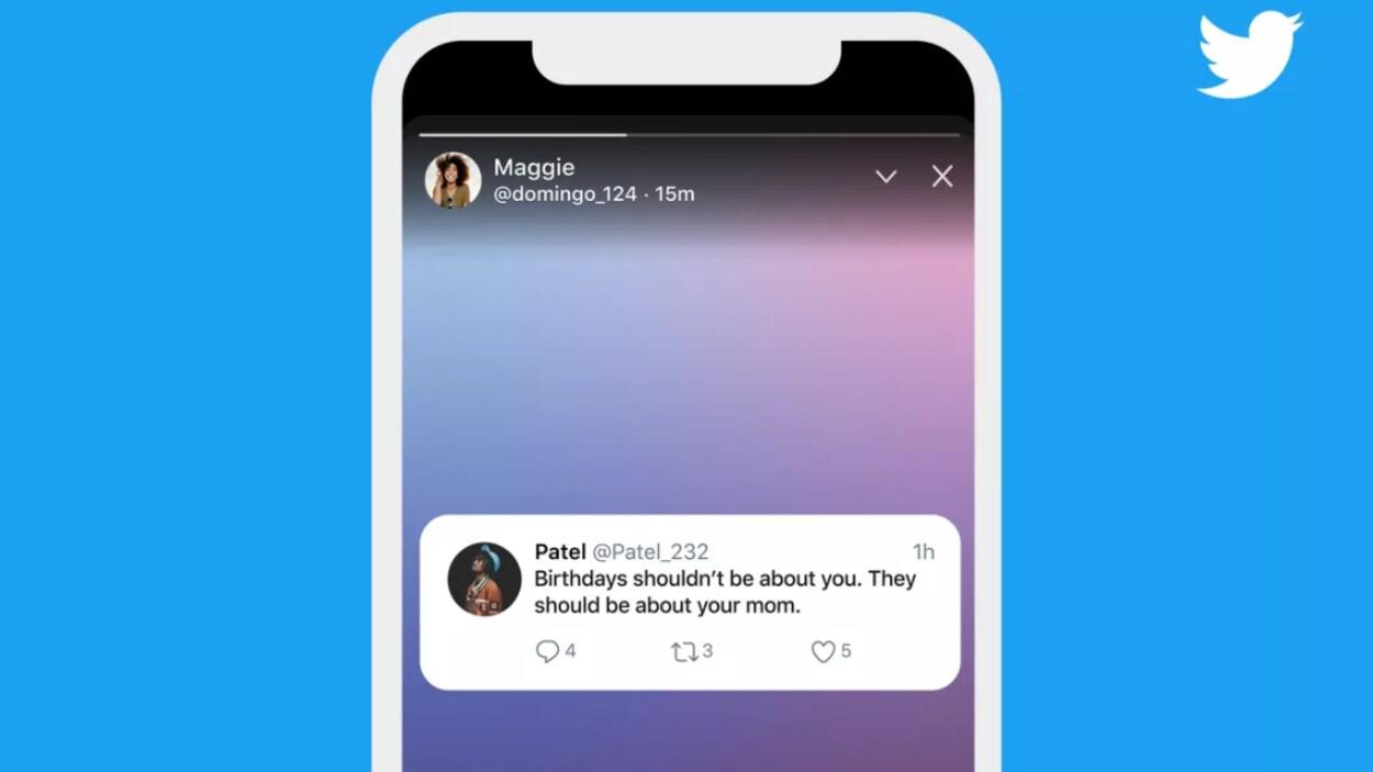 Écran d'un téléphone cellulaire montrant une publication éphémère sur Twitter.