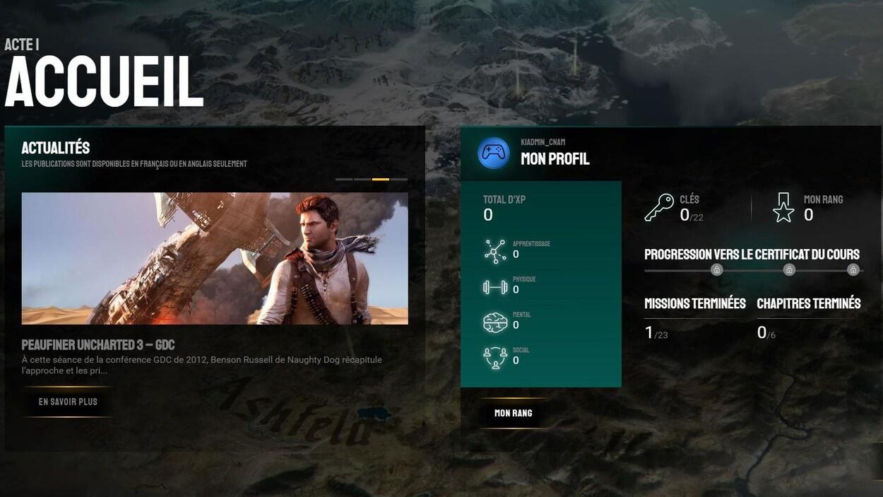Interface du cours «L'Odyssée des créateurs de jeux».