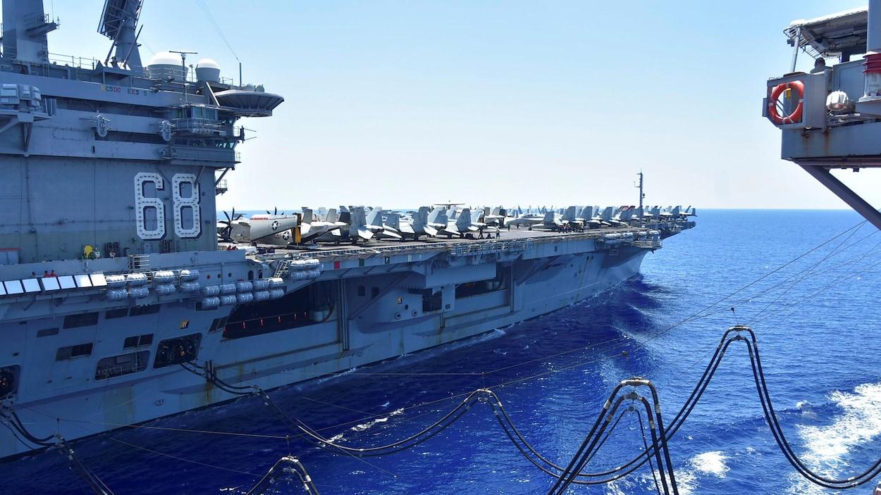 Le porte-avions américain USS Nimitz en mer de Chine méridionale.