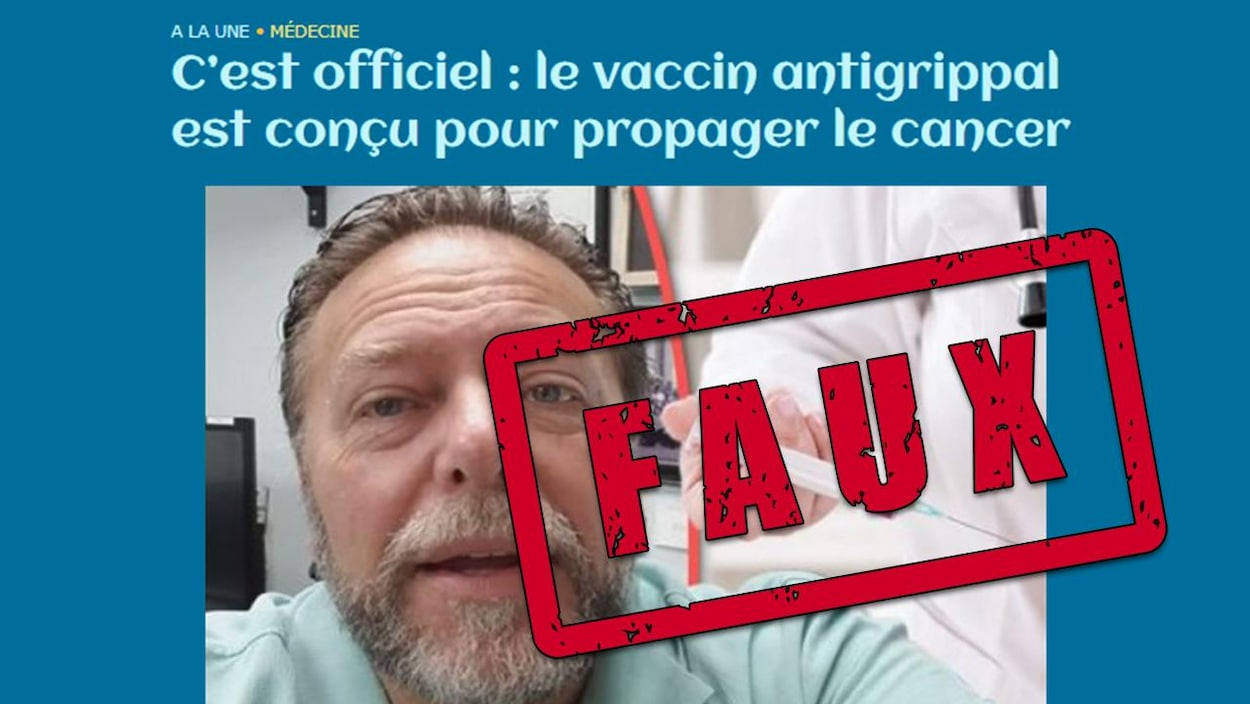 Nous voyons un homme parler à la caméra, surplombé d'une médecin qu s'apprête à donner un vaccin. « C'est officiel : le vaccin antigrippal est conçu pour propager le cancer », est-il écrit.