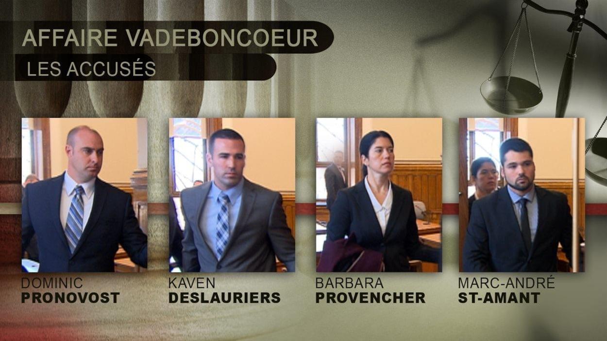Les quatre policiers accusés dans l'affaire Vadeboncoeur.