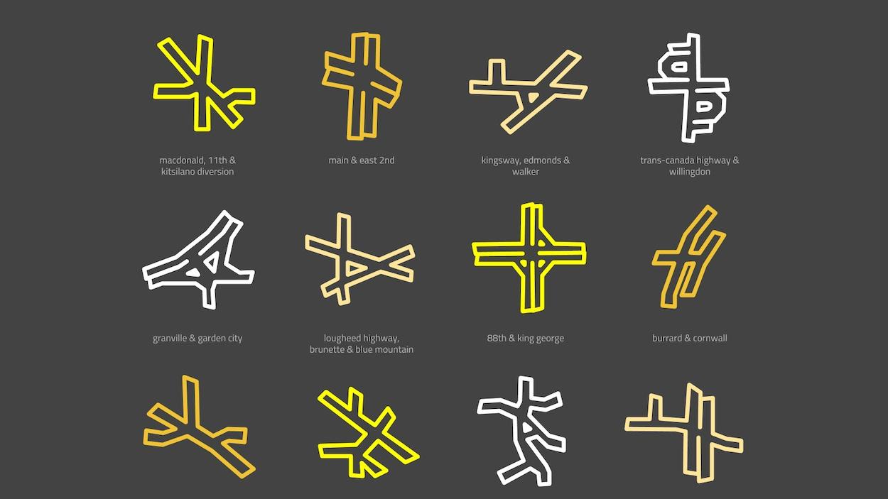 Une affiche représente schématiquement, sous la forme de bâtons entrecroisés, des intersections du Grand Vancouver.