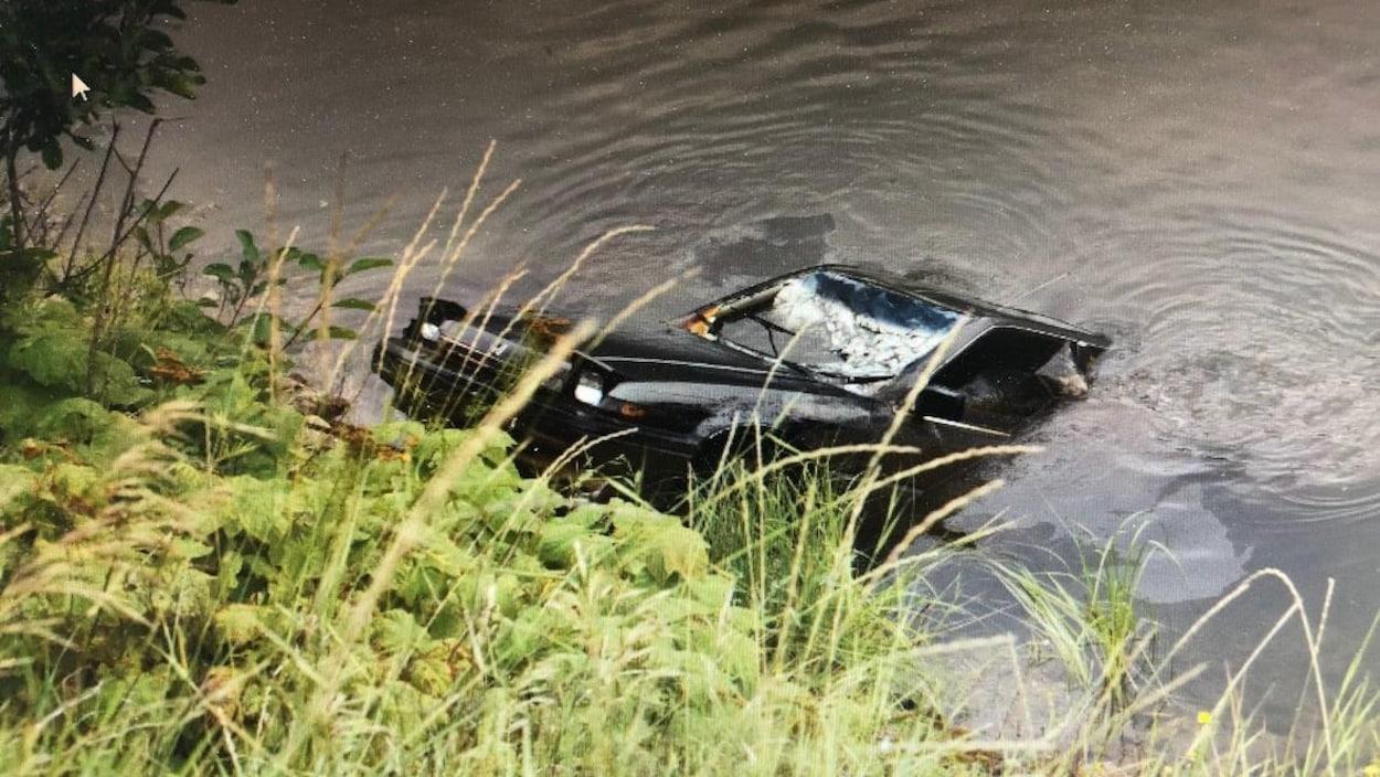 Une voiture noire est remorquée des eaux d'un lac.