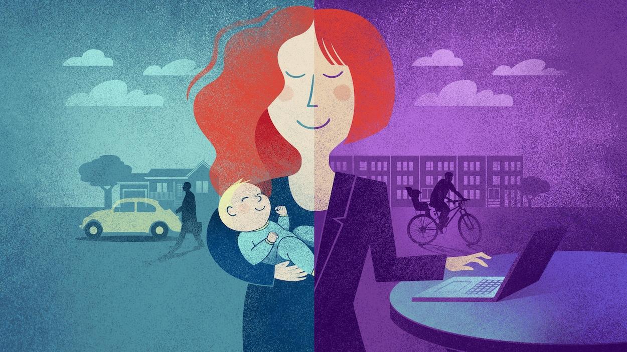 Illustration montrant, dans la portion de gauche, une femme dans les années 70 tenant un bébé dans son bras. En arrière-plan, son mari, valise à la main, s'apprête à quitter pour le travail en voiture, qui est garée devant un bungalow. Dans la portion de droite, un femme de 2019 en tailleur tape à une main sur un ordinateur portable. En arrière-plan, son conjoint à vélo s'apprête à aller reconduire leur enfant à la garderie. Il est devant une rangée de condos.