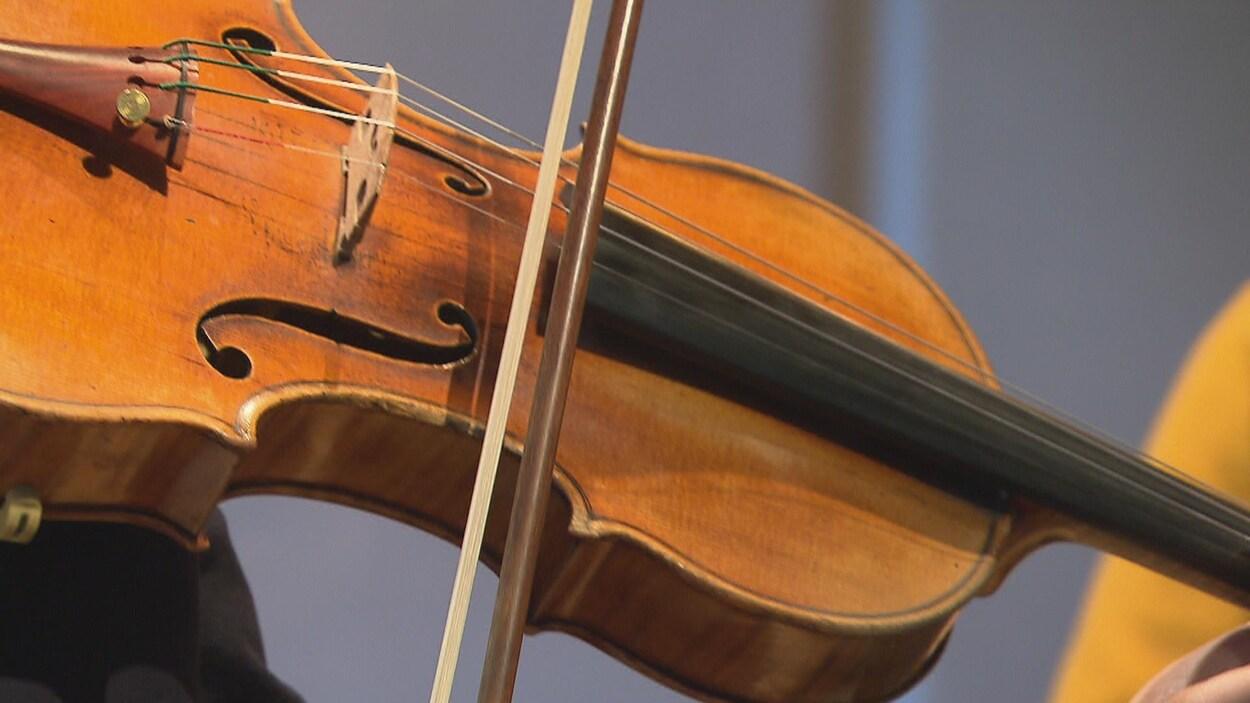 Un violon est photographié en très gros plan.