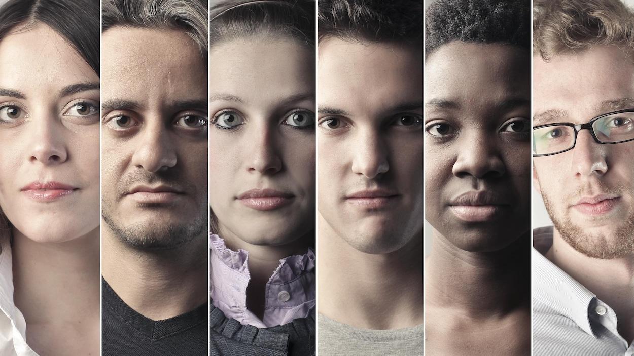 Les visages neutres d'individus