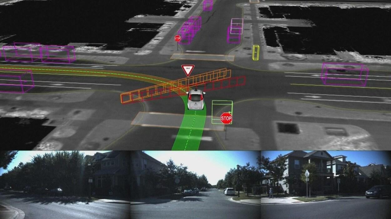 Le tableau de bord de la voiture autonome de Google, Waymo.