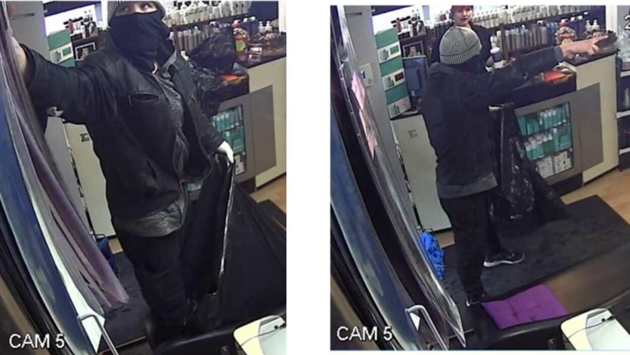 Images du suspect d'un vol inusité dans un salon de coiffure de Lévis.