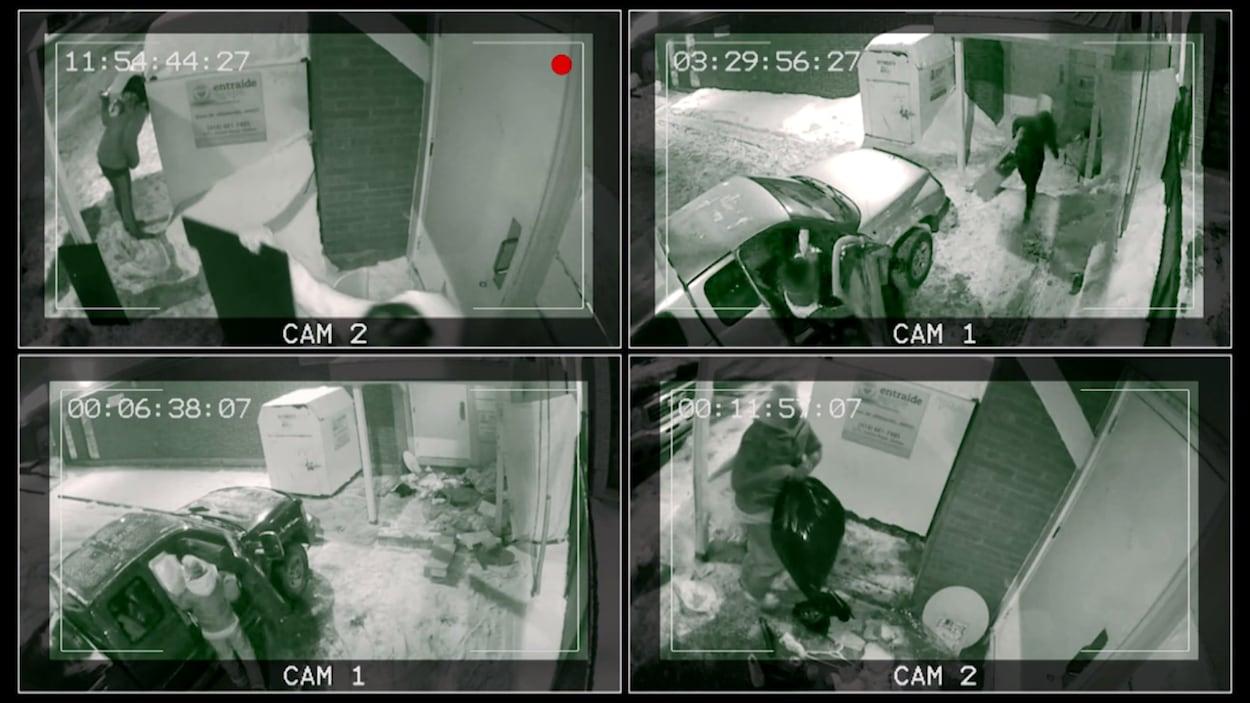 Quatre images de caméras de surveillance en noir et blanc