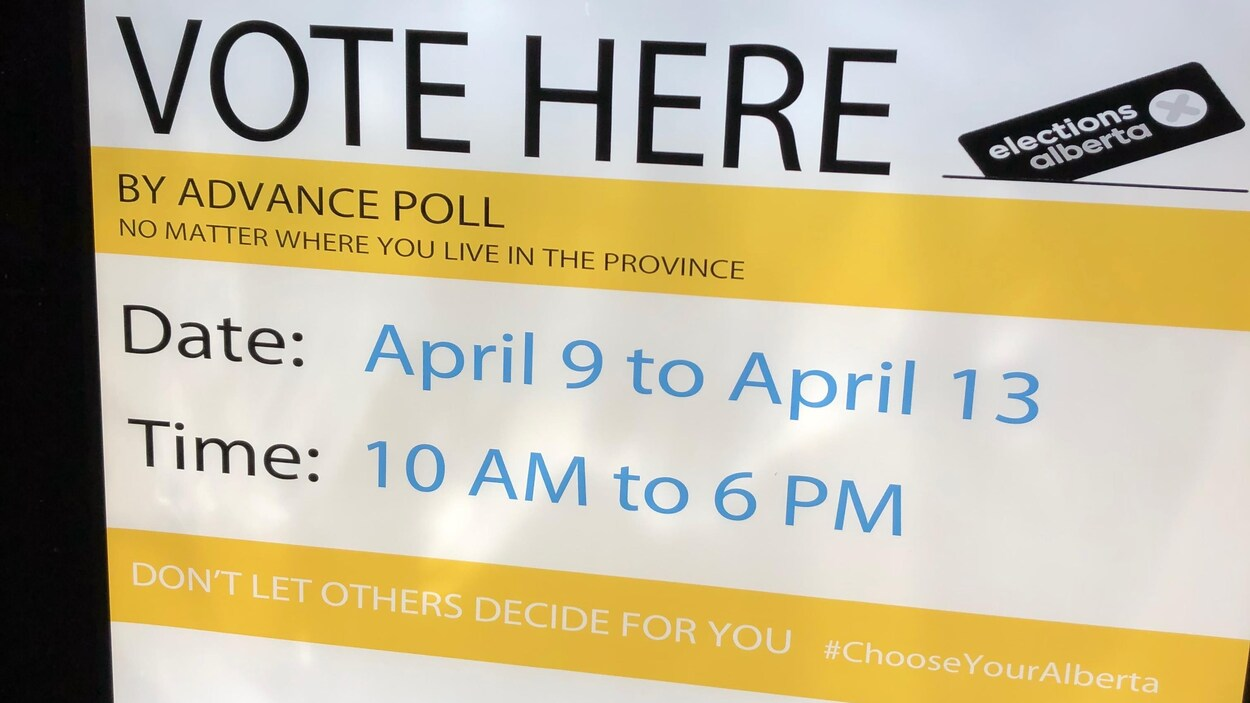 Les Albertains pouvaient voter par anticipation du 9 au 13 avril 2019, à n'importe quel bureau de scrutin à travers la province.