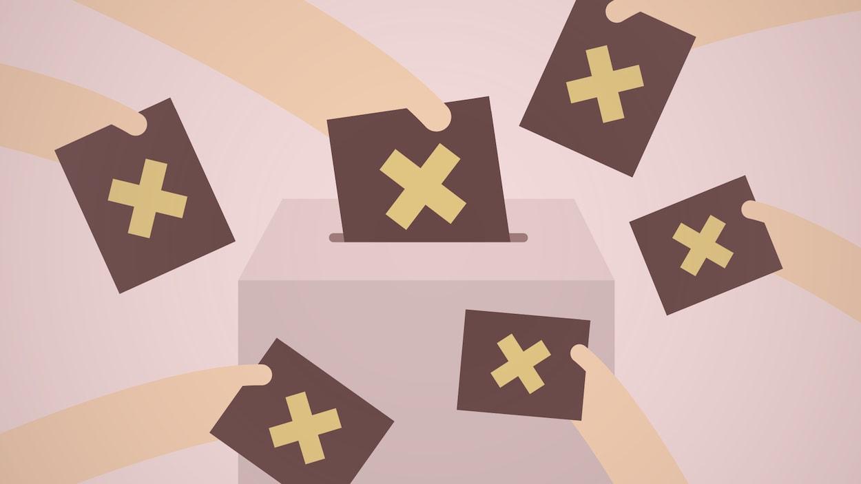 Plusieurs bulletins de vote marqués d'un X autour d'une urne