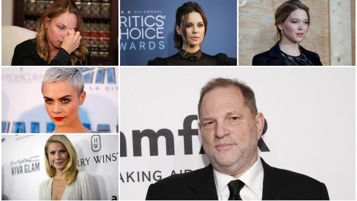 Quelques actrices disant avoir été harcelées ou agressées par le producteur Harvey Weinstein (en bas à droite).