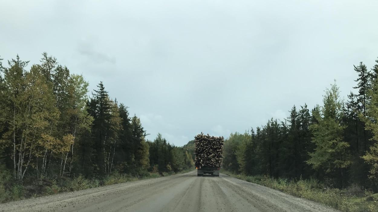 Un fardier chargé de bois circule sur la route forestière ro-461(25) qui relie Wemotaci et La Tuque.