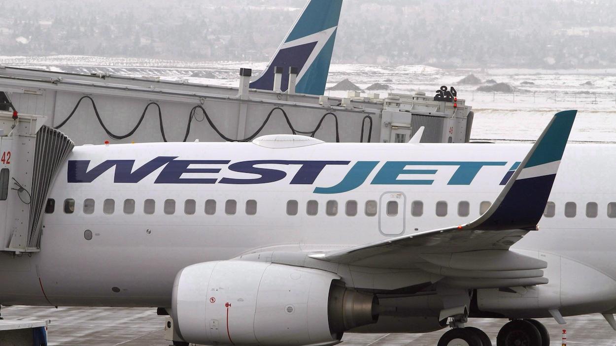 Gros plan d'un avion blanc sur lequel est écrit en lettres bleues Westjet.