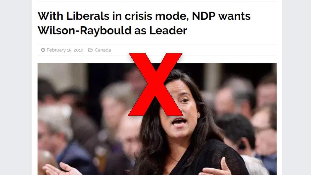 Nous voyons une photo de Jody Wilson-Raybould ainsi que le titre: «Alors que les Libraux sont en crise, le NPD veut Wilson-Raybould comme chef»