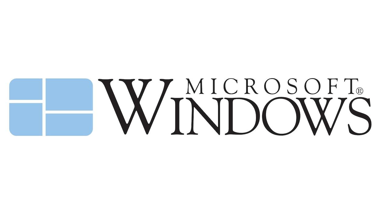 Une image montrant le logo de Windows 1.0, un rectangle bleu pâle aux coins arrondis traversé de quelques lignes blanches horizontales et verticales.