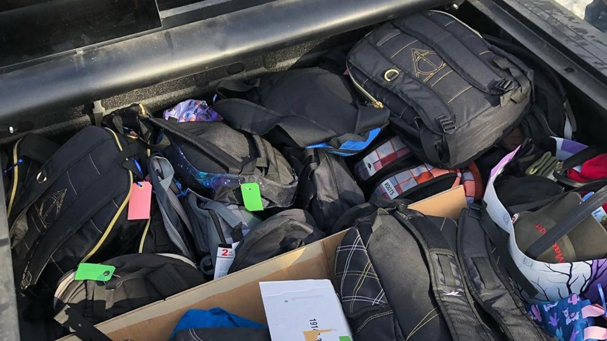 Un coffre de voiture rempli de sacs à dos.