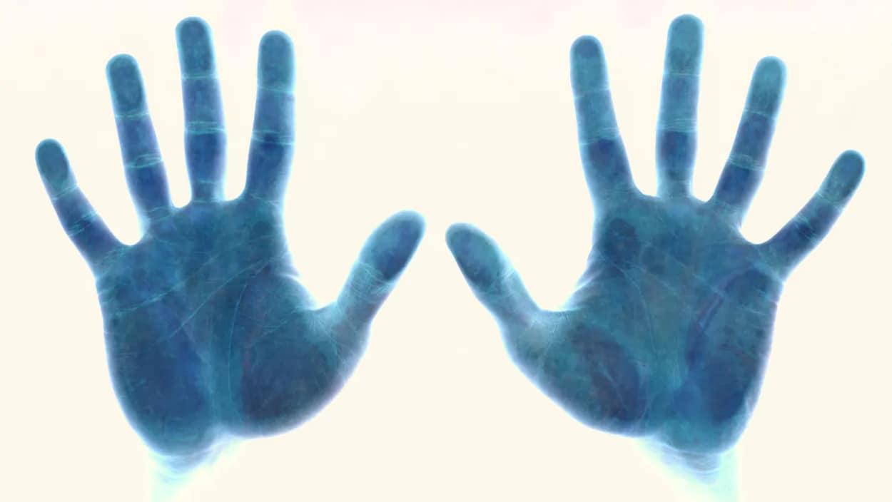 Des mains appliquées sur un lecteur biométrique.