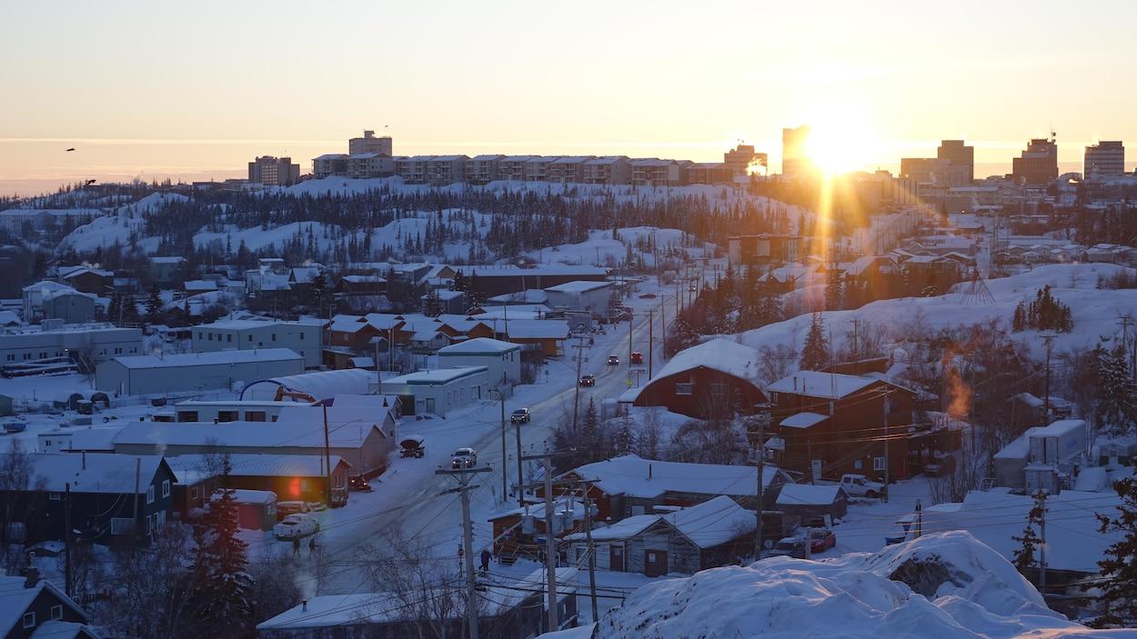 La ville de Yellowknife vue de haut.