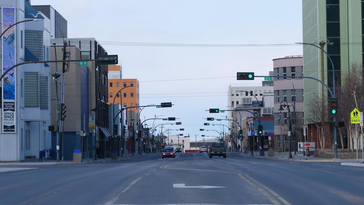 Le centre-ville de Yellowknife.