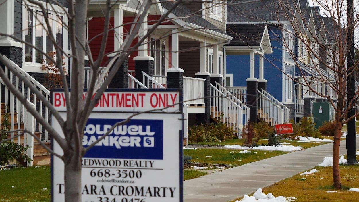 Des affiches d'agents immobiliers et de candidats électoraux devant une série de maisons.