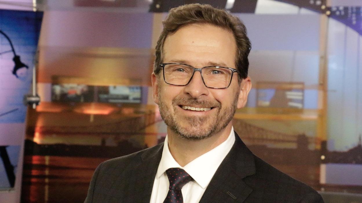 Yves-François Blanchet au lendemain de l'annonce de son couronnement comme chef du parti, de passage dans le studio télé de Radio-Canada à Trois-Rivières
