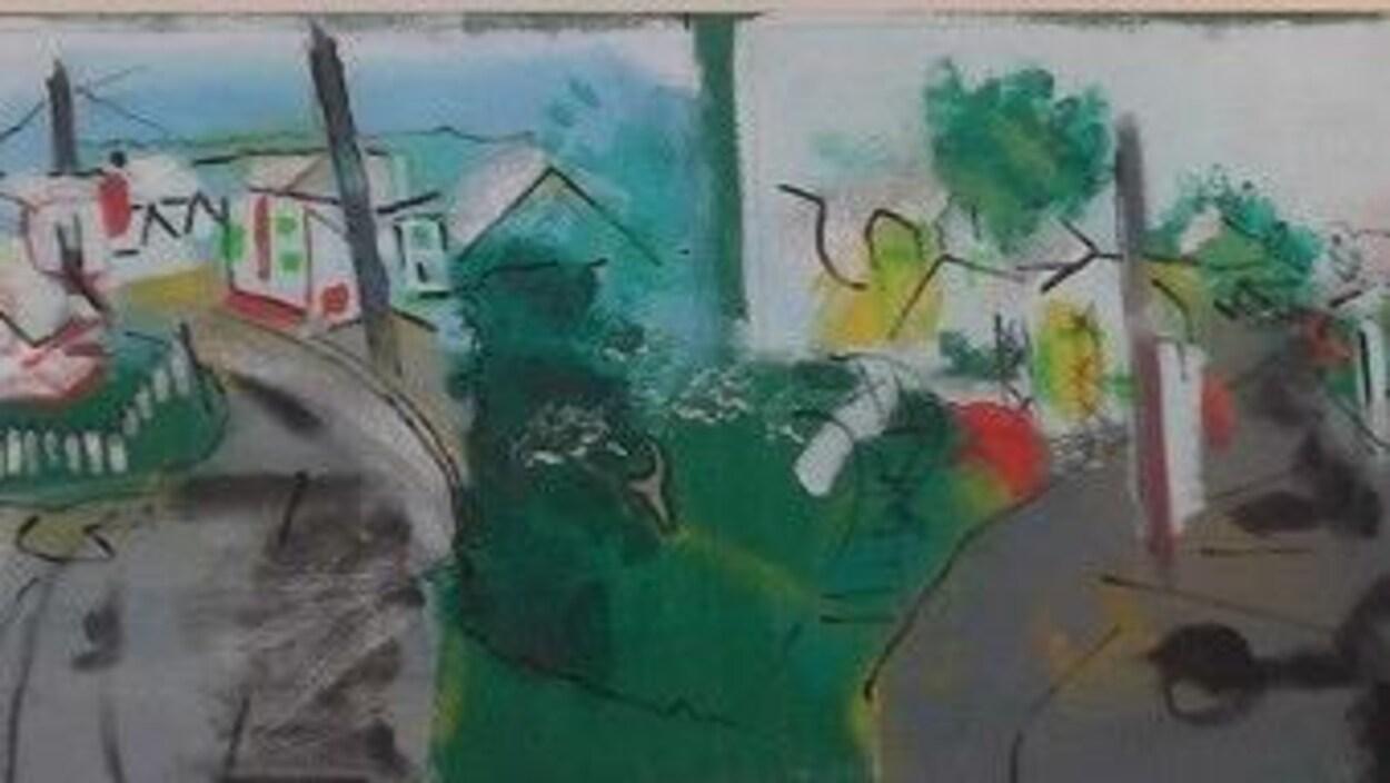 Tableau illustrant 4 angles de la rue Saint-Adolphe, à Baie-Saint-Paul.