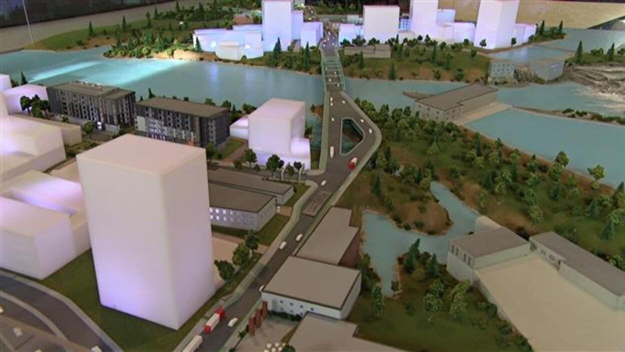 Une maquette du projet Zibi à Ottawa et à Gatineau.