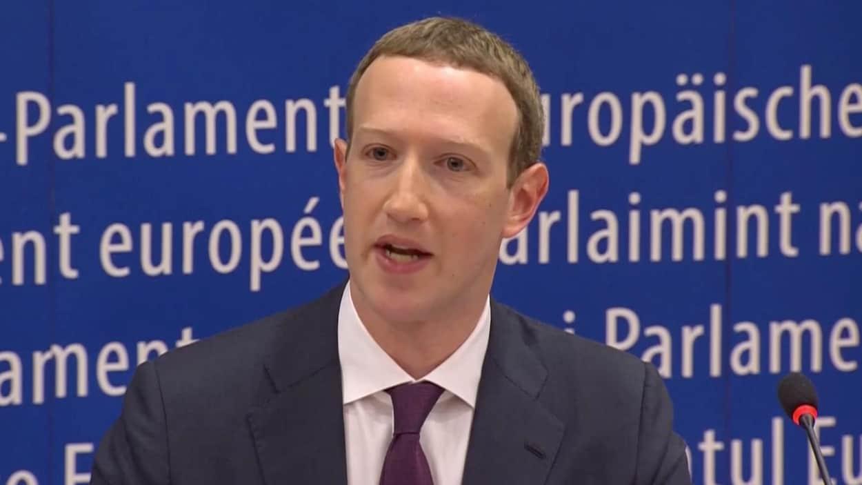 Le PDG de Facebook Mark Zuckerberg au Parlement européen à Bruxelles.