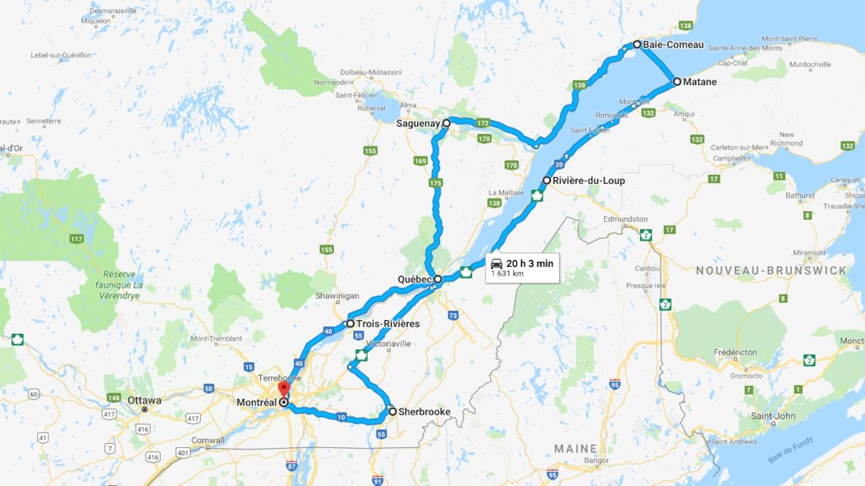 Le trajet 1 illustré sur une carte.