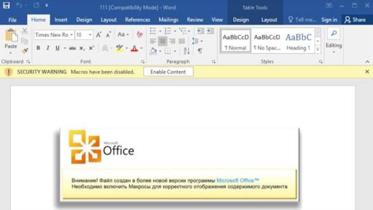 Un faux message d'erreur Microsoft Word encourage les utilisateurs à désactiver les outils de protection du logiciel.