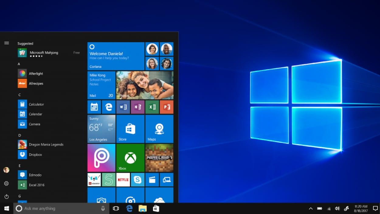 Capture d'écran montrant l'interface du système d'exploitation