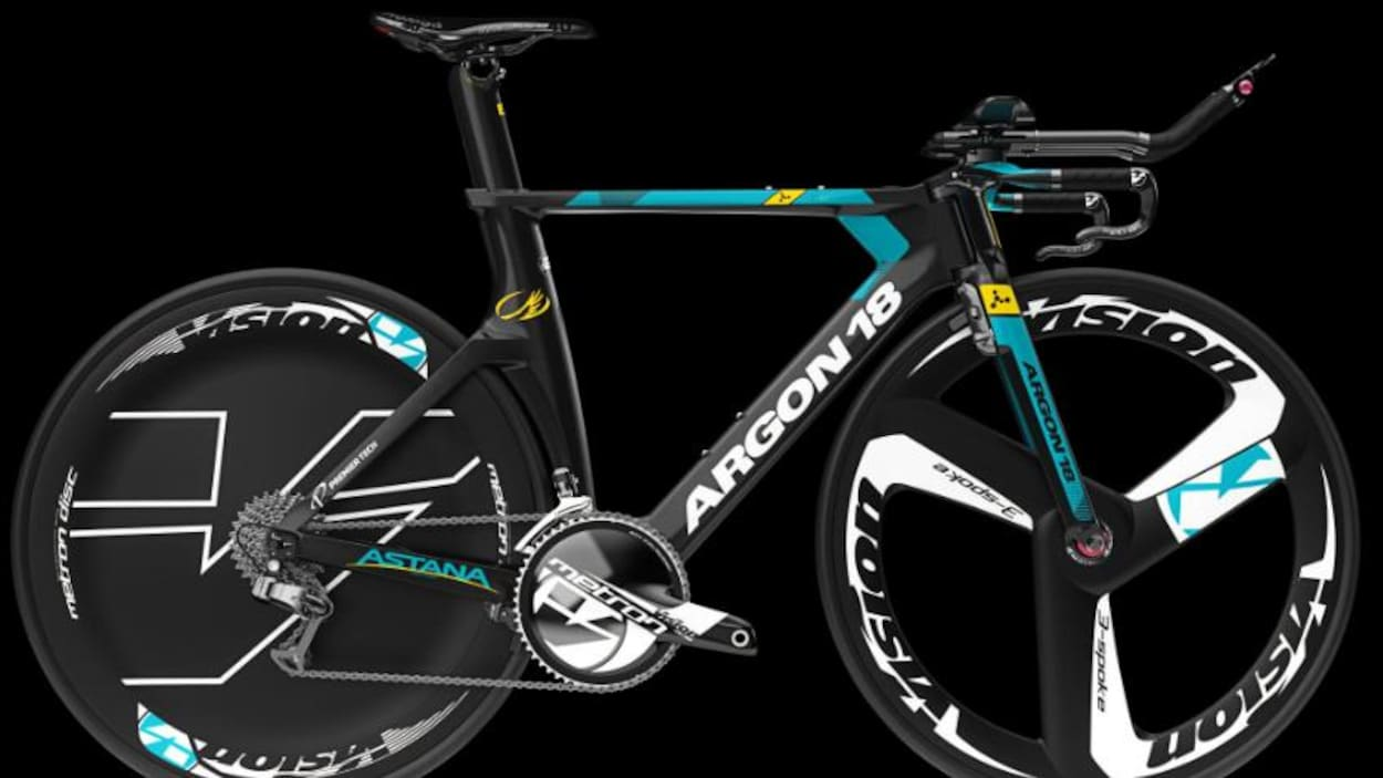 Vélo Argon 18 aux couleurs de l'équipe Astana