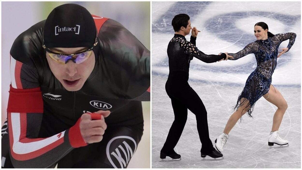 Alex Boisvert-Lacroix (à gauche) patine pendant le 500 m de la Coupe du monde de Salt Lake City. Le duo Tessa Virtue / Scott Moir (à droite) exécutent leur routine aux finales du Grand Prix de l'ISU, à Nagoya.
