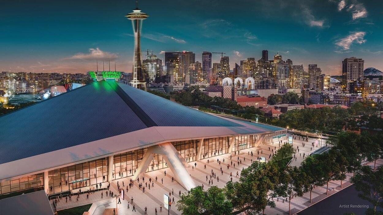 Une maquette du domicile de l'équipe qui amorcera ses activités dans la LNH à Seattle en 2021-2022.
