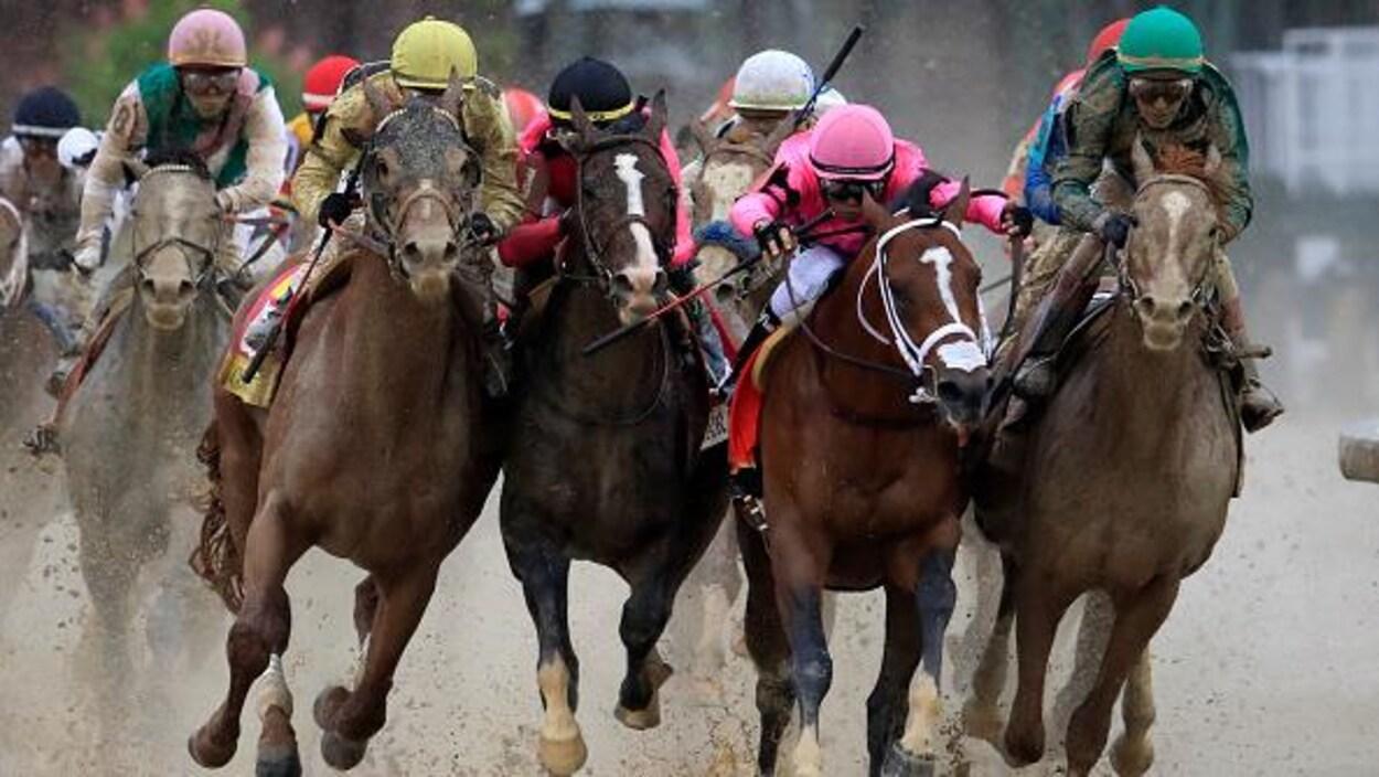 De gauche à droite, les chevaux Country House, War of Will, Maximum Security et Code of Honor au plus fort de la lutte dans le dernier virage.