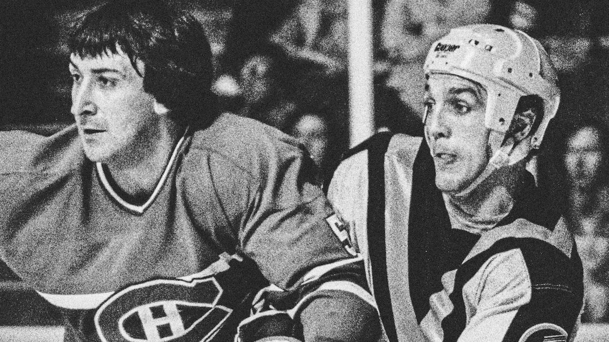 Guy Lapointe, du Canadien de Montréal, et Dave « Tiger » Williams, des Canucks de Vancouver, en 1981