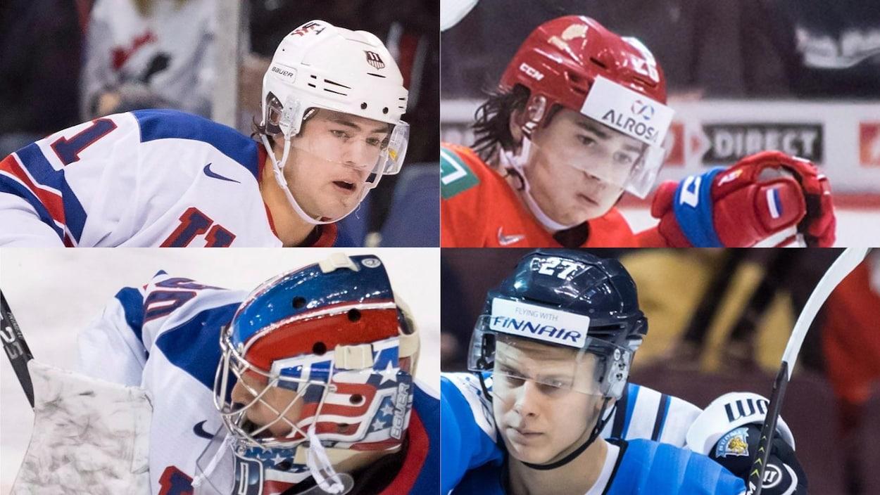 Les espoirs du Canadien (dans le sens horaire, à partir du coin supérieur gauche) Ryan Poehling, Alexander Romanov, Jesse Ylonen et Cayden Primeau
