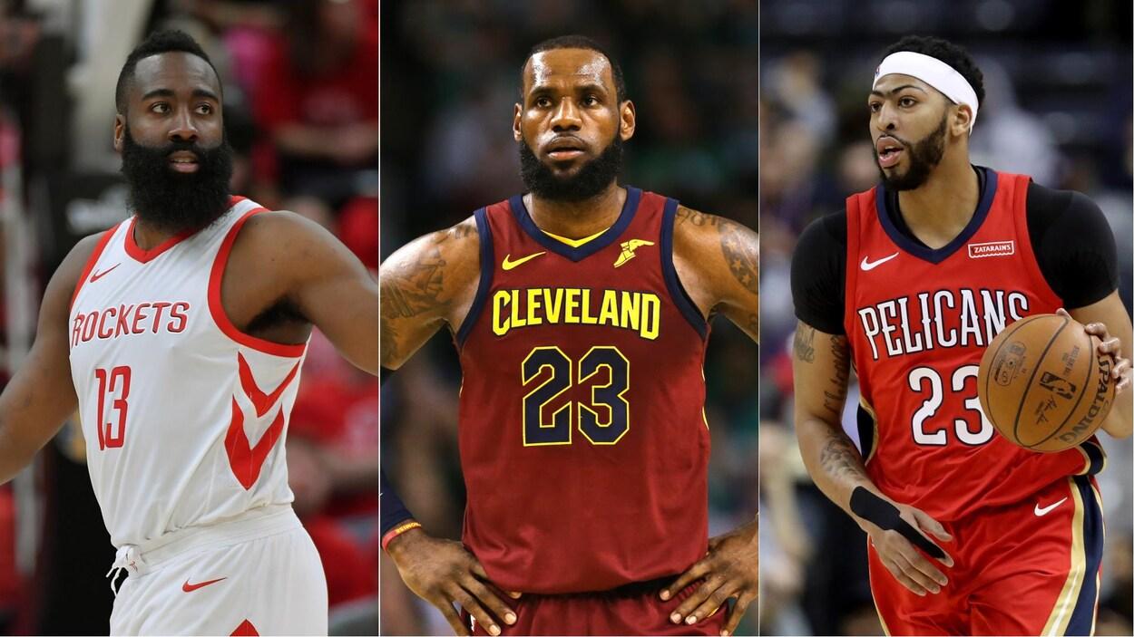 James Harden, des Rockets de Houston, LeBron James, des Cavaliers de Cleveland, et Anthony Davis, des Pelicans de La Nouvelle-Orléans