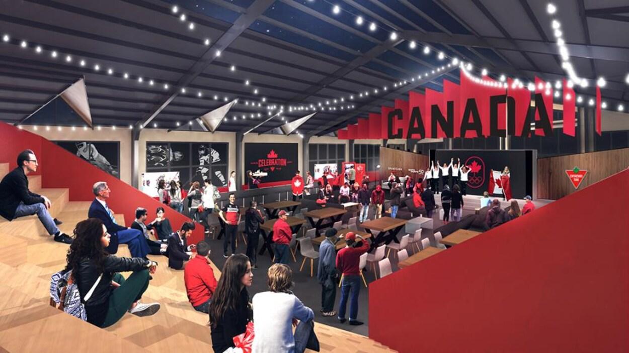 Aperçu de l'intérieur de la Maison olympique du Canada en Corée du Sud
