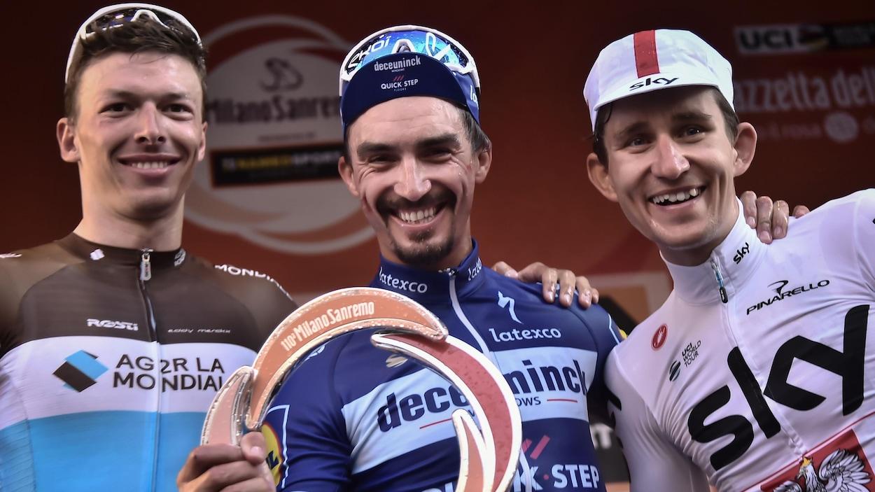 Julian Alaphilippe sur le podium de Milan - Sanremo
