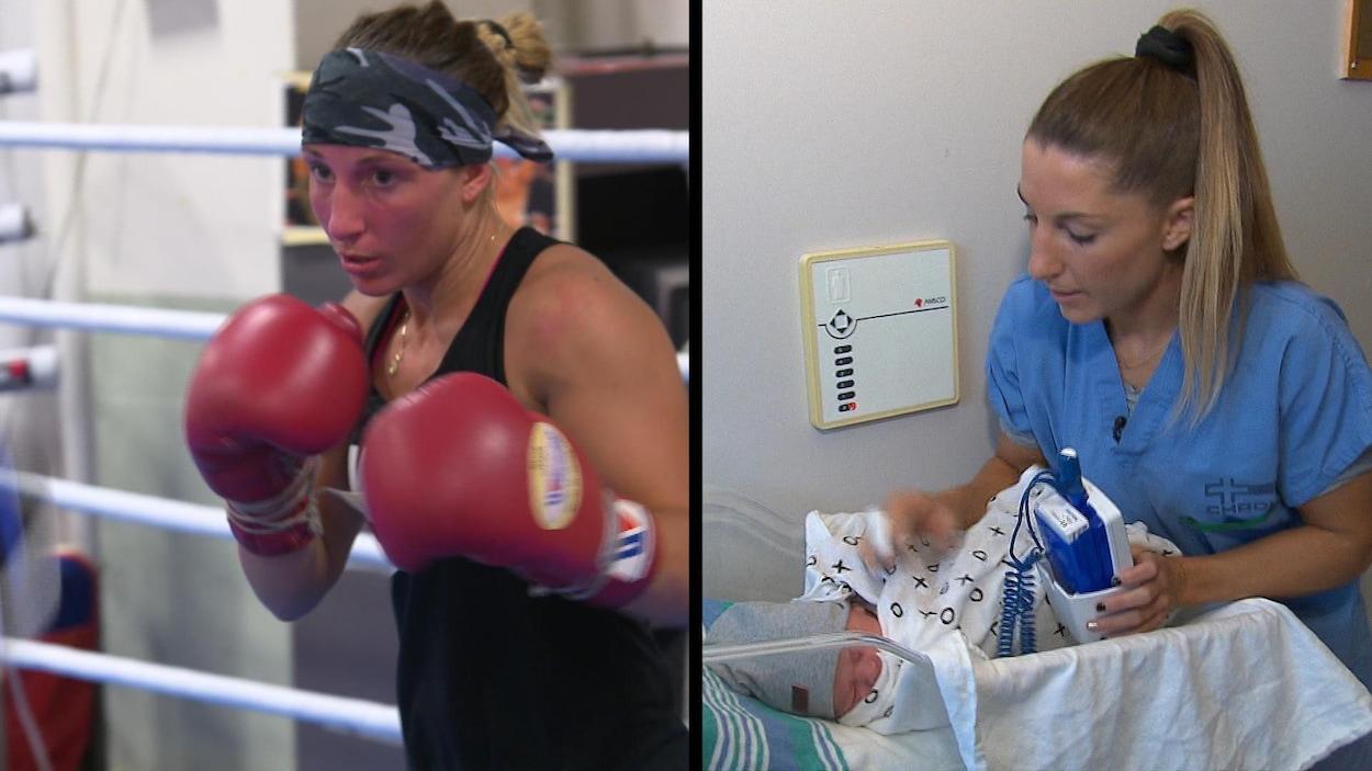 On la voit boxer et au travail comme infirmière