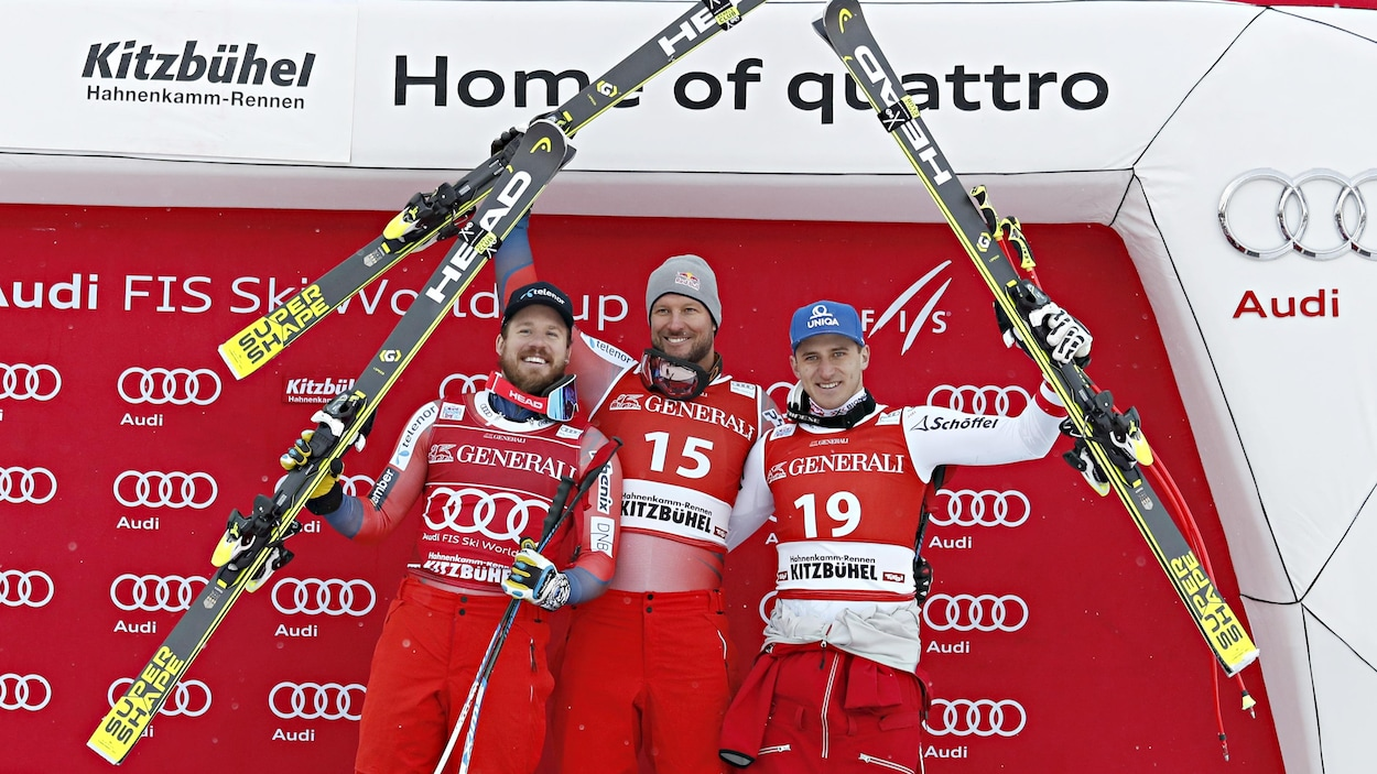 De gauche à droite : Kjetil Jansrud, Aksel Lund Svindal, Matthias Mayer