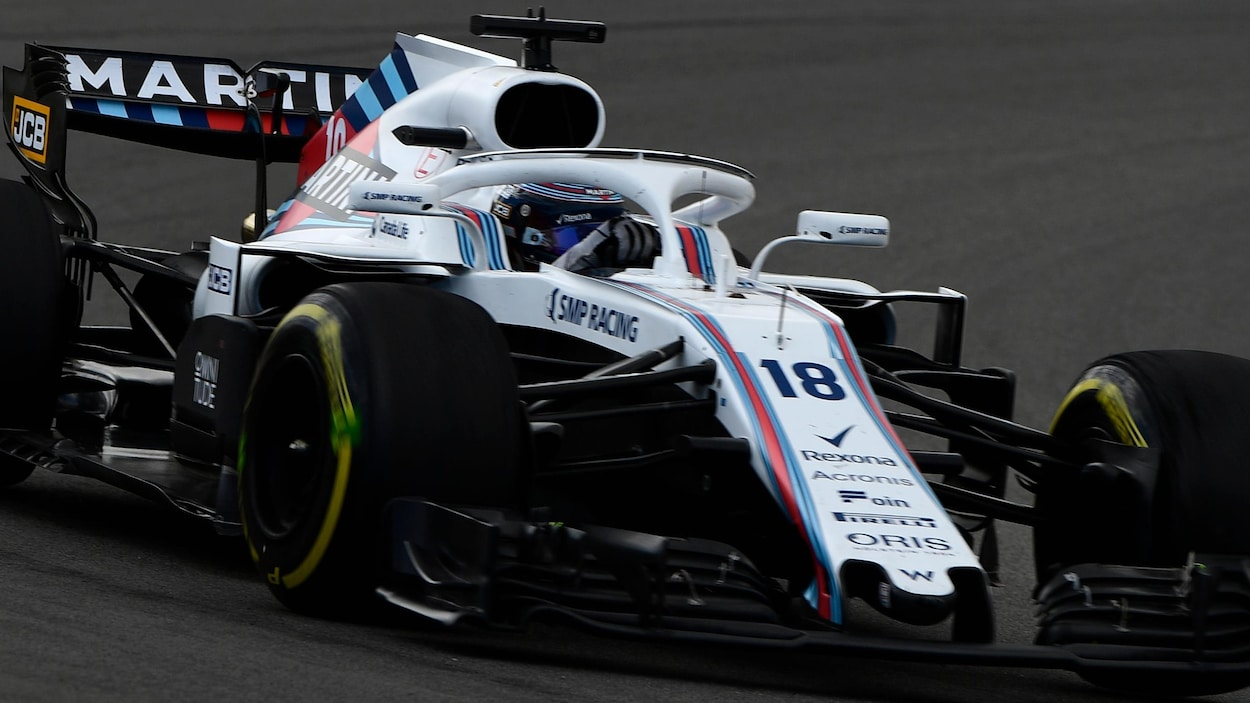 Lance Stroll pilote la Williams FW41 à Barcelone