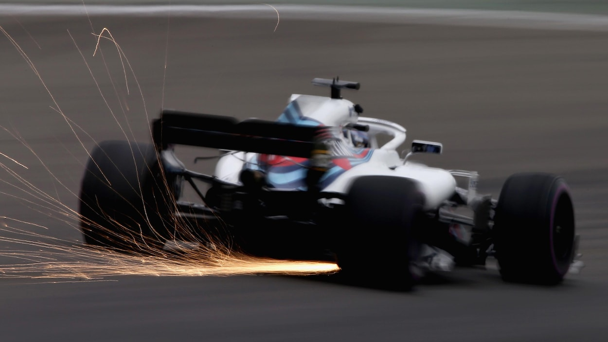 Lance Stroll en piste dans sa Williams sur le circuit de Shanghaï en Chine