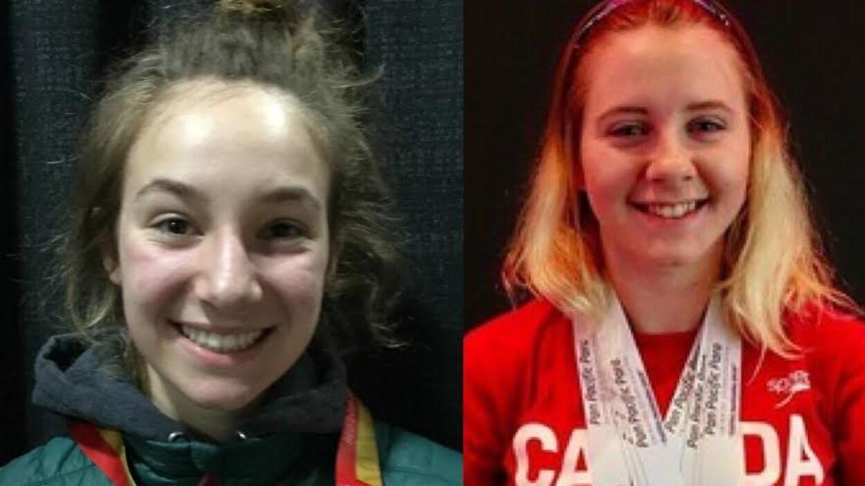 Deux jeunes femmes souriantes avec des médailles au cou.