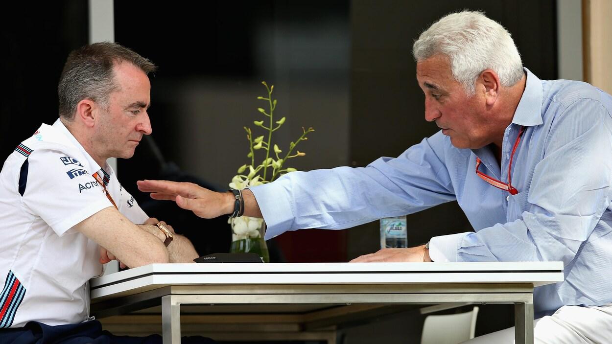 Le directeur technique de l'équipe Williams Paddy Lowe écoute Lawrence Stroll dans le paddock du Grand Prix de Bahreïn.