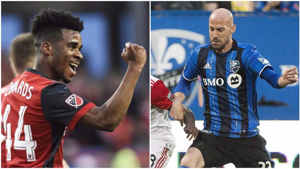Image double montrant Raheem Edwards avec le Toronto FC, le poing levé et le sourire aux lèvres, ainsi que Laurent Ciman avec l'Impact de Montréal disputant le ballon à un adversaire.