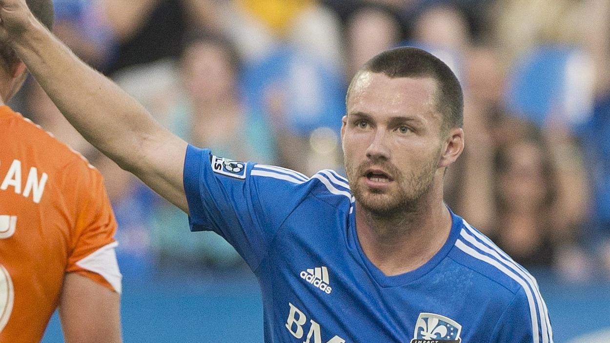 Jack McInerney, de l'Impact de Montréal, célèbre son but contre le Dynamo de Houston en 2014.