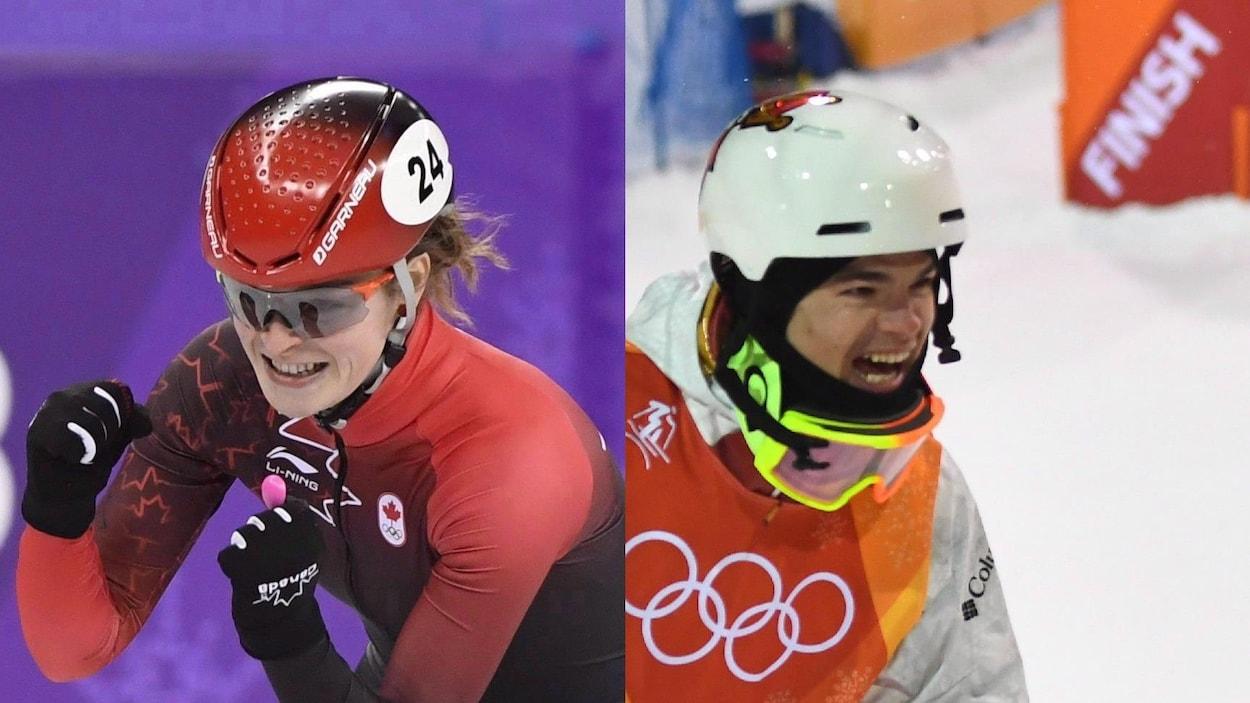 Kim Boutin (à gauche) et Mikaël Kingsbury célèbrent leurs réussites respectives aux Jeux olympiques de Pyeongchang.